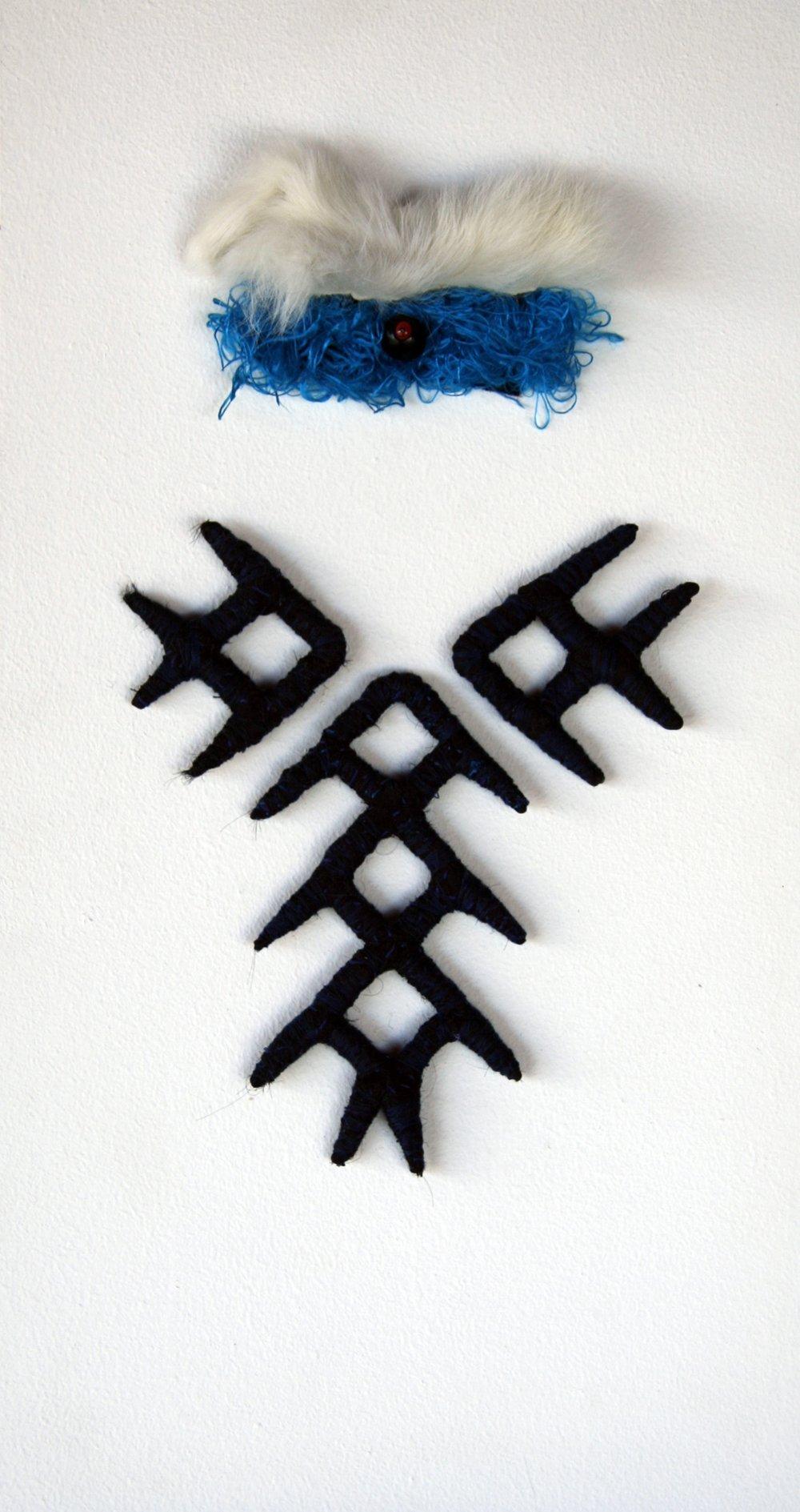 Francusi (2006/09). Wire, fur, fabric & glass bead.