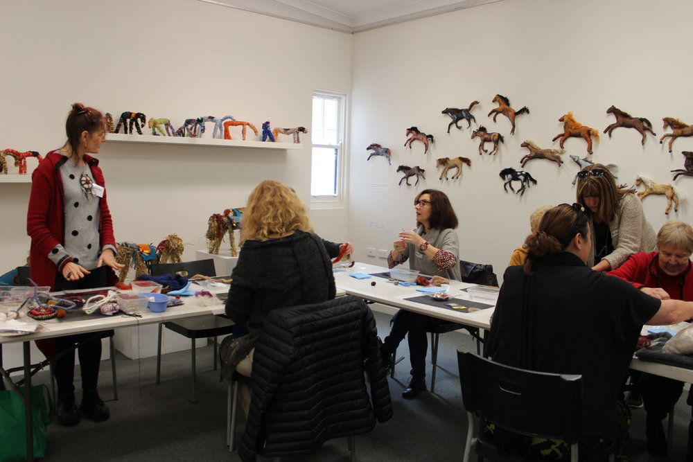Participants at the Mundaring Arts Centre during a horsehair workshop