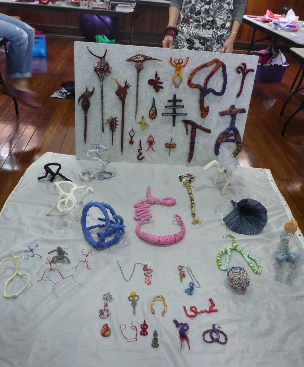 Participants'outcomes plus display board of KV's pieces at a workshop on textiles and wire armatures for WAFTA