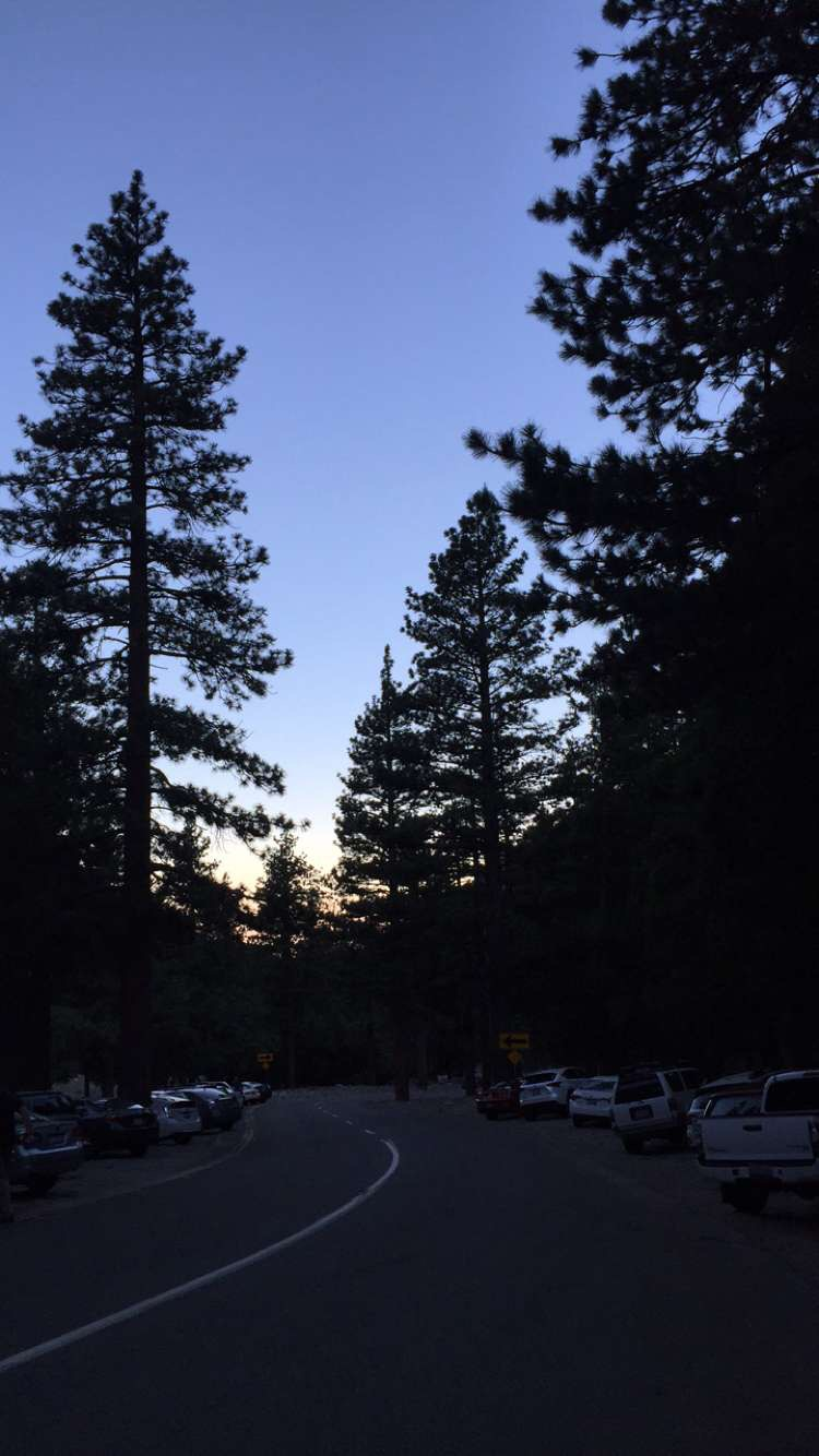 The start of our hike - sunrise from the trailhead parking near Manker Campground