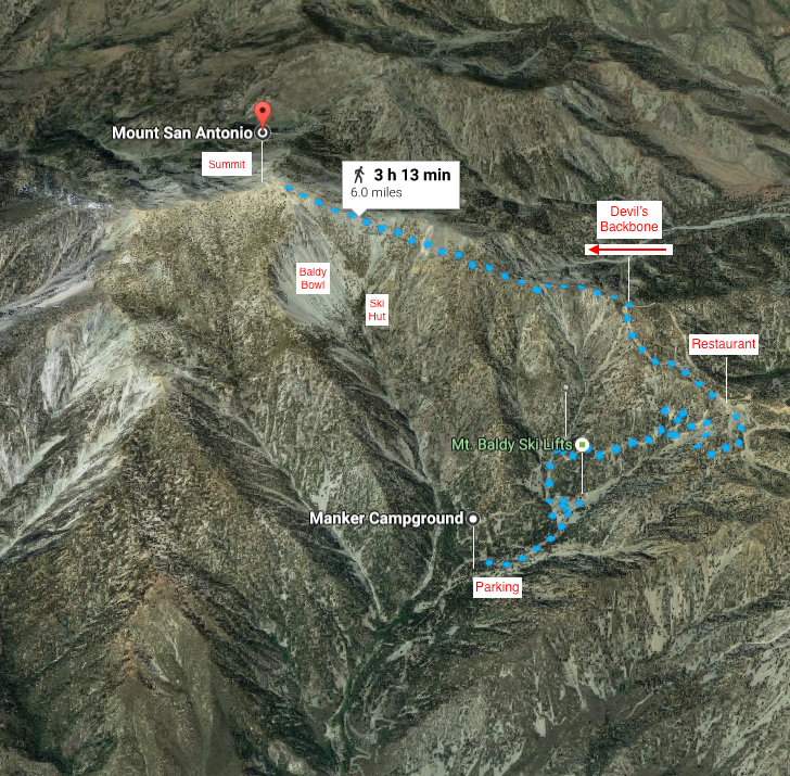 Click here to see the Mt. Baldy Hike on Google Maps
