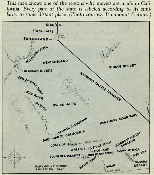 1927 Paramount Studios Map of Potential Filming Locations in California
