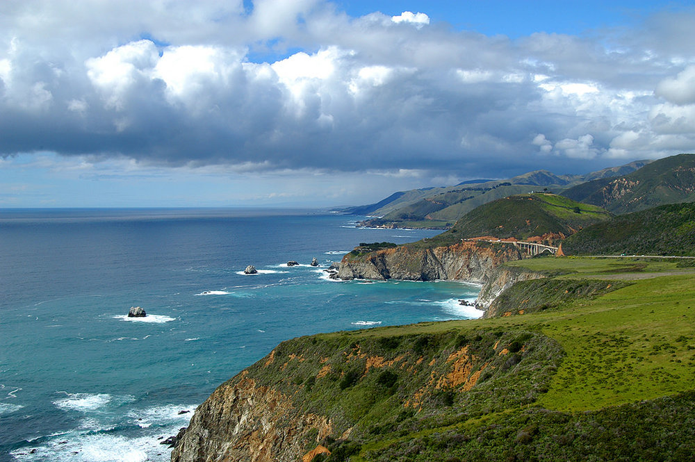 Big Sur - Bixby Bridge in the distant right via  Calilover