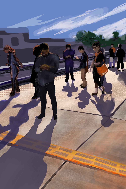 Caltrain Station Shadows (Palo Alto)