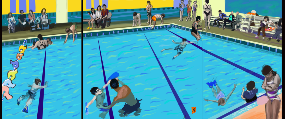 Swimming Pool Triptych
