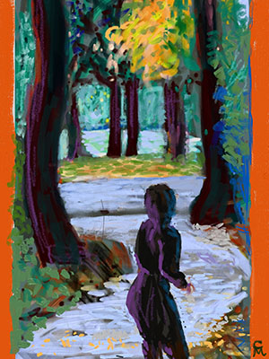 """Solitary Walker"" Original iPad Painting with Art Set Substrates: Giclee Canvas, Giclee Print. Sizes  (Small 9x12) Medium (18x24) Large (36x48)"