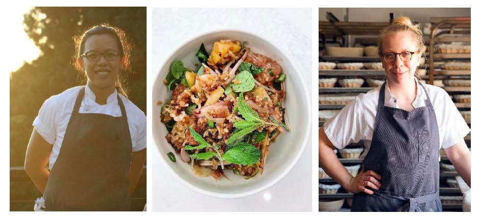 Left-Right: Lalita Kaewsawang; Crispy Rice Salad with Mango and Citrus; Avery Ruzicka