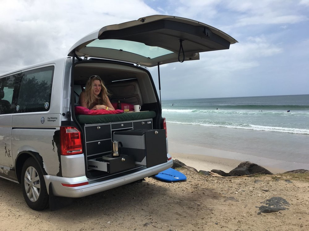 The VW T6 Multivan with VanEssa Mobilcamping Rear Kitchen at Byron Bay, December 2016