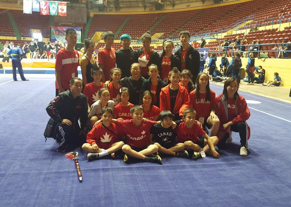 Master Wayland Li (far left) with students Adam, Amanda, Stanley, Erica, Rex, Caleb, Louis, Zeina, Kai-Hsin, Julia and other members of the Canadian National Wushu Team.