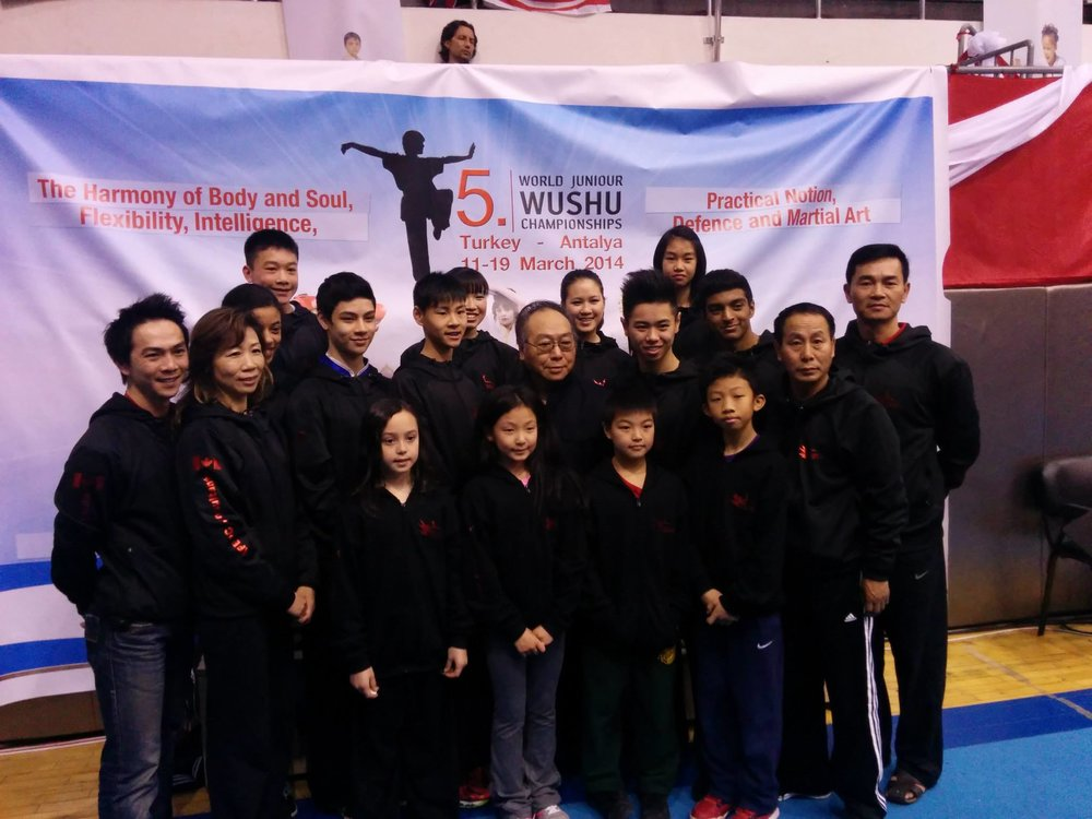 Master Wayland Li (second from right) with students Julia, Erica, Nima, Terence and other members of the Canadian National Wushu Team.
