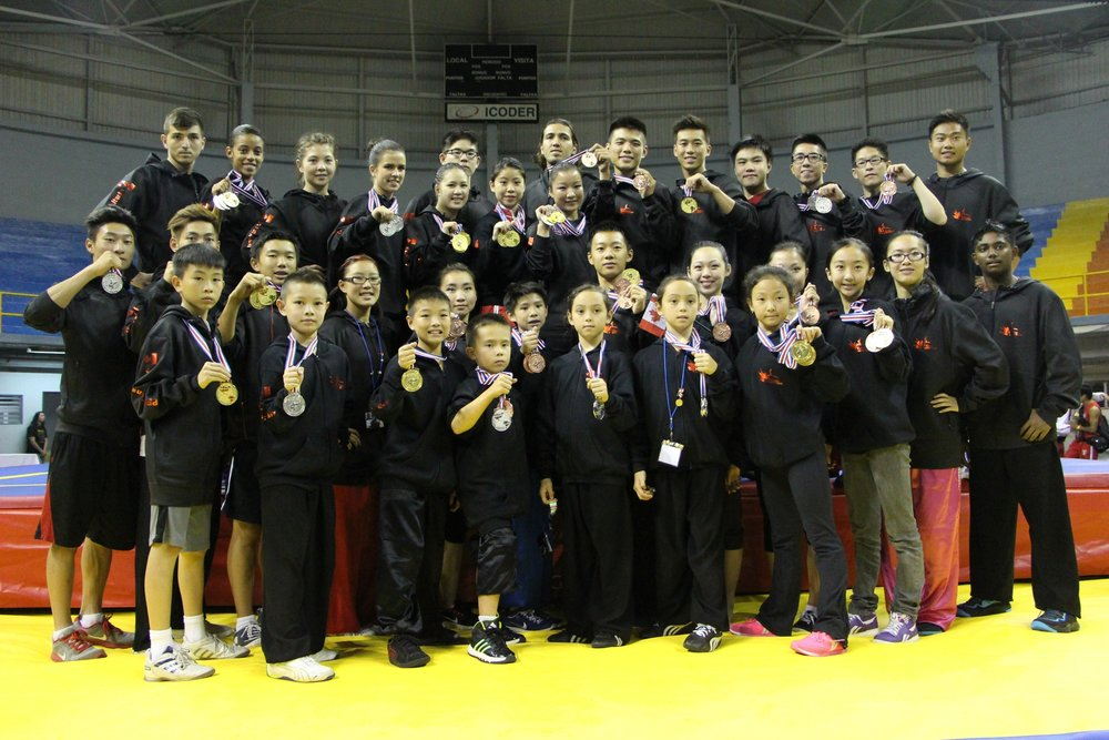 Master Wayland Li (far left) with students Adam, Amanda, Stanley, Erica, Rex, Caleb, Louis, Zeina, Kai-Hsin, Julia and other members of the Canadian National Wushu Team.