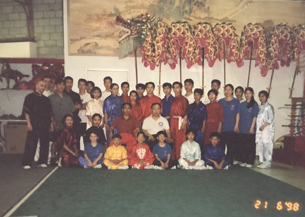 Group shot of the wushu team, 1998