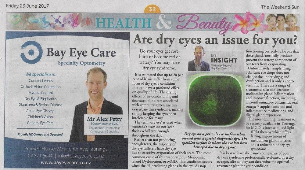 Dry Eye Treatments are discussed in the Weekend Sun June 2017
