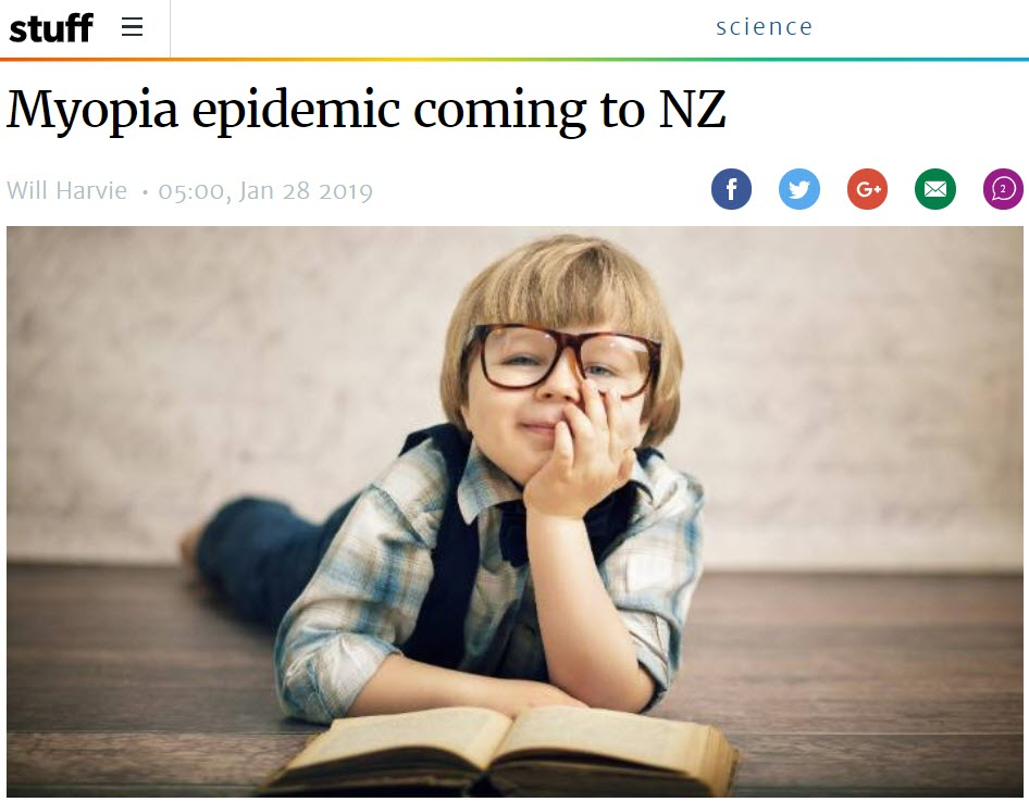Stuff.co.nz article on myopia featuring Bay Eye Care optometrist Mr Alex Petty