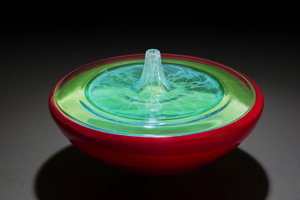 Tom Rowney,  Red Pool , 2017, blown glass incalmo and merletto technique, 23 x 37 x 37cm. Photo: Adam McGrath.