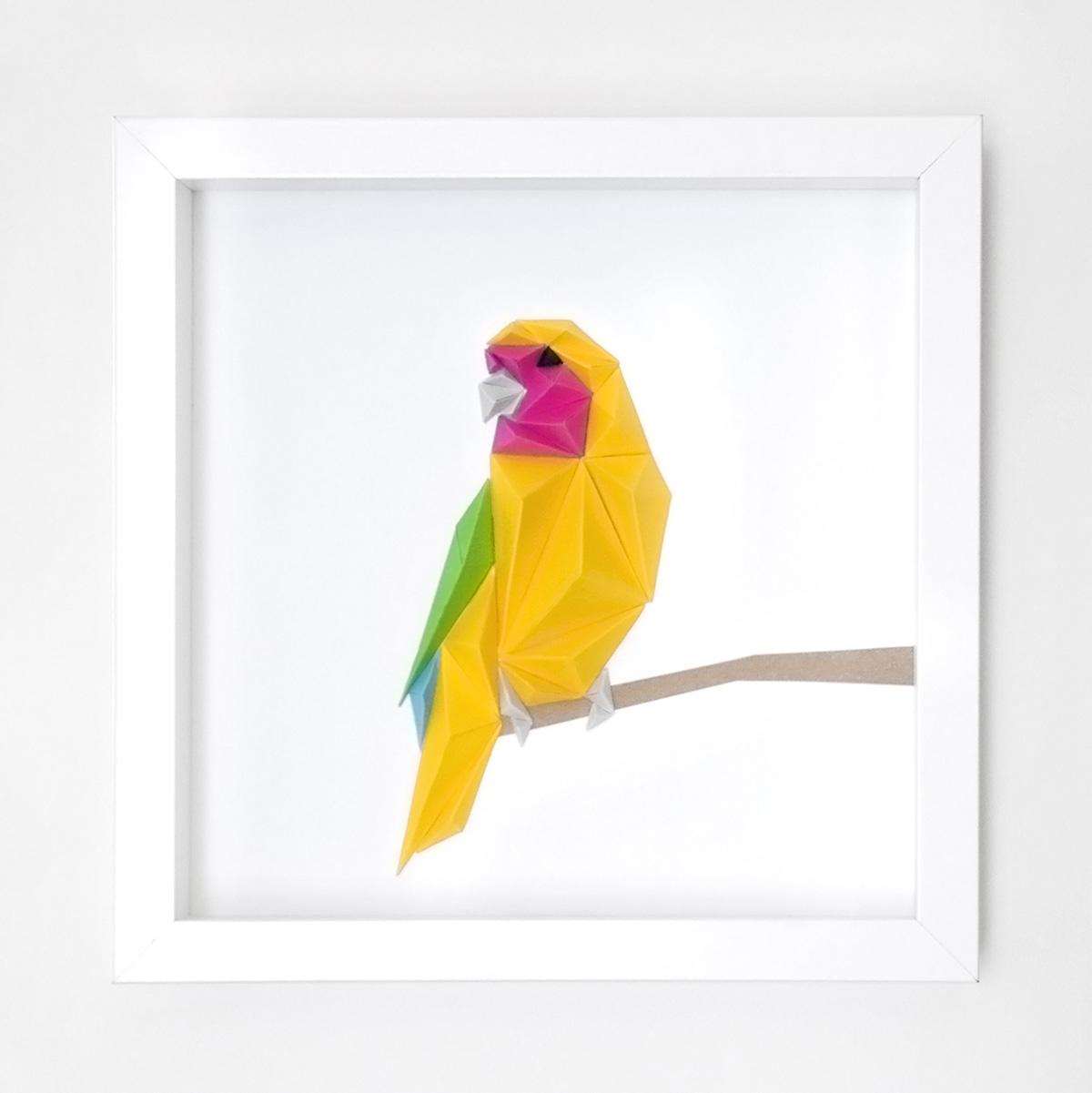Birds Series Alta Papercraft Parrot Origamiorigami Macaw Parrotorigami Diagram Altapapercraft Squareframe Priscilla