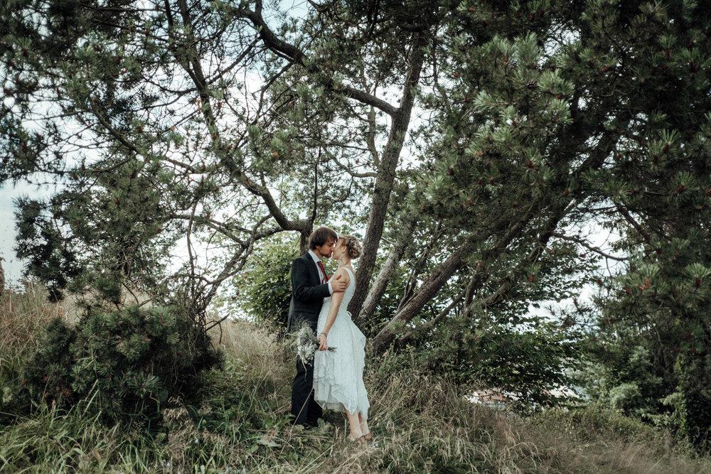 Brautpaar küsst sich in der Natur vor der Hochzeit