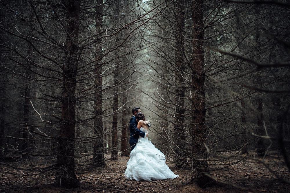 Das Hochzeitspaar beim Paarshooting eng umschlungen im Nadelwald bei kühler Lichtstimmung am Abend