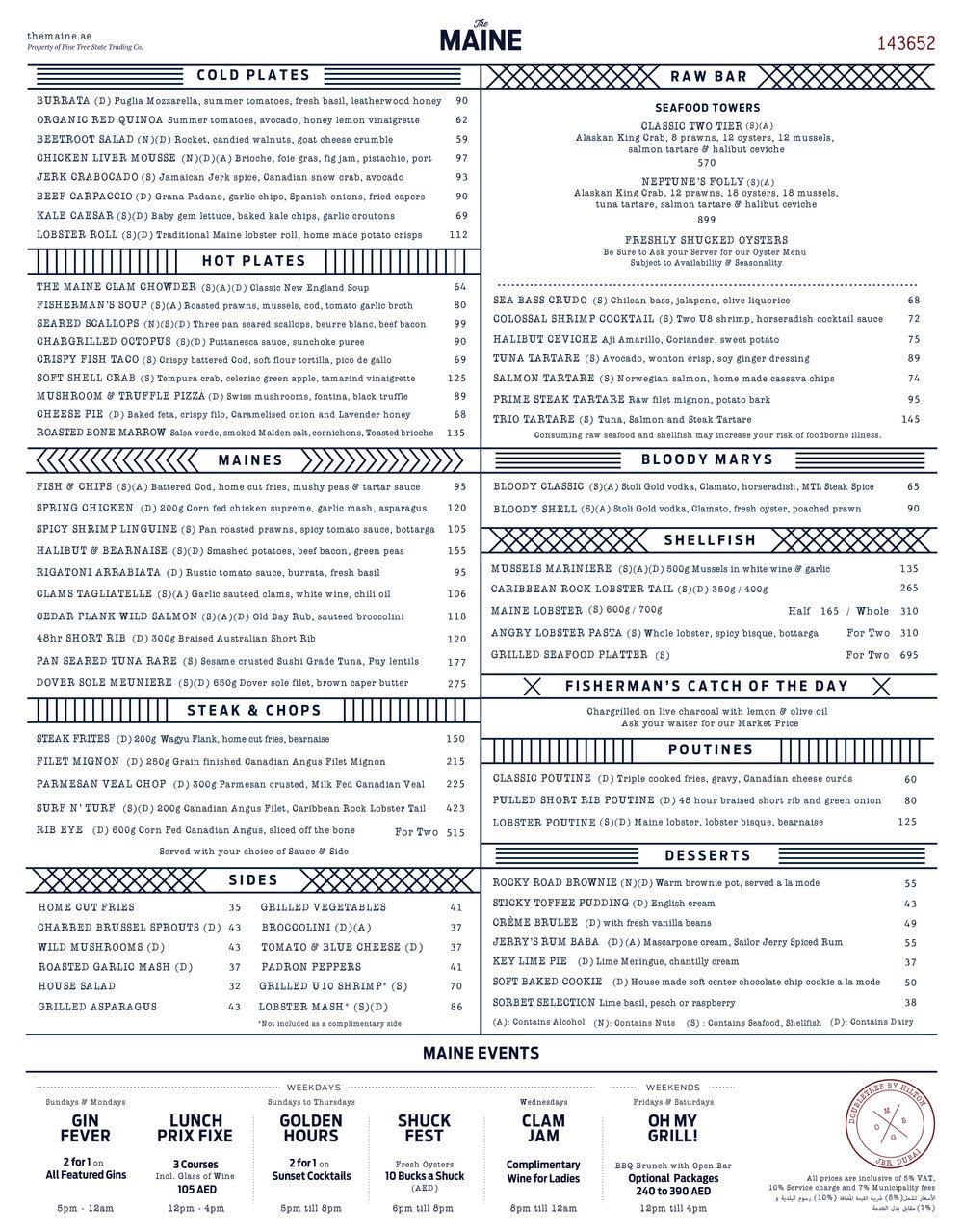 The MAINE Oyster Bar and Grill Dubai JBR