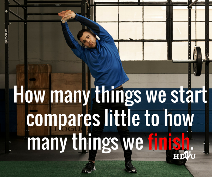 How many things we  start  compares little to how many things we  finish .