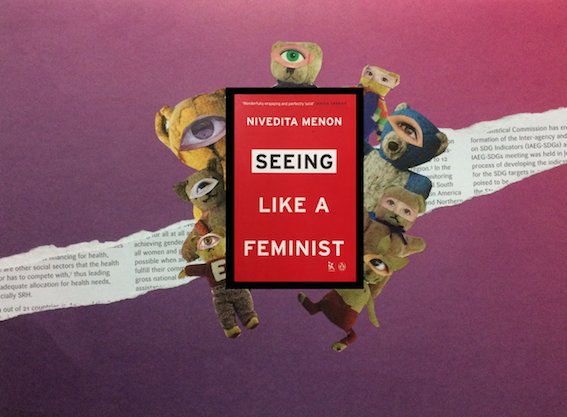 "Illustration with the book cover of ""Seeing Like a Feminist'."