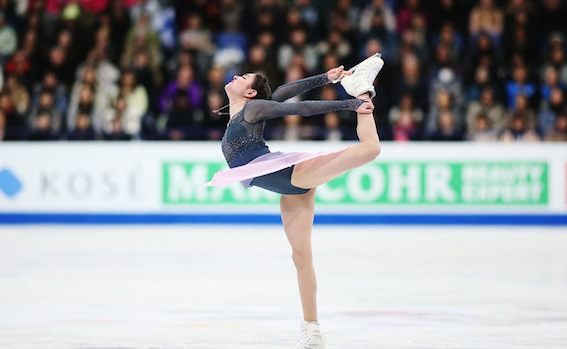 Evgenia Medvedeva during her free skate performance in 2017 World Figure Skating Championships where she successfully defended her title and broke another world record. Figure skating is, thankfully, a sport which offers equal prize for both men and women. Photo Credit: International Skating Union.