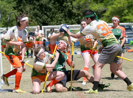 Quidditch game in US. It was first played in 2005 and continue to grow until now. Quidditch is the first sport to include any gender in the team: male, female, or whatever. Photo Credit: Matt Dwyer Photography in US Quidditch 2015-2016 Annual Report.