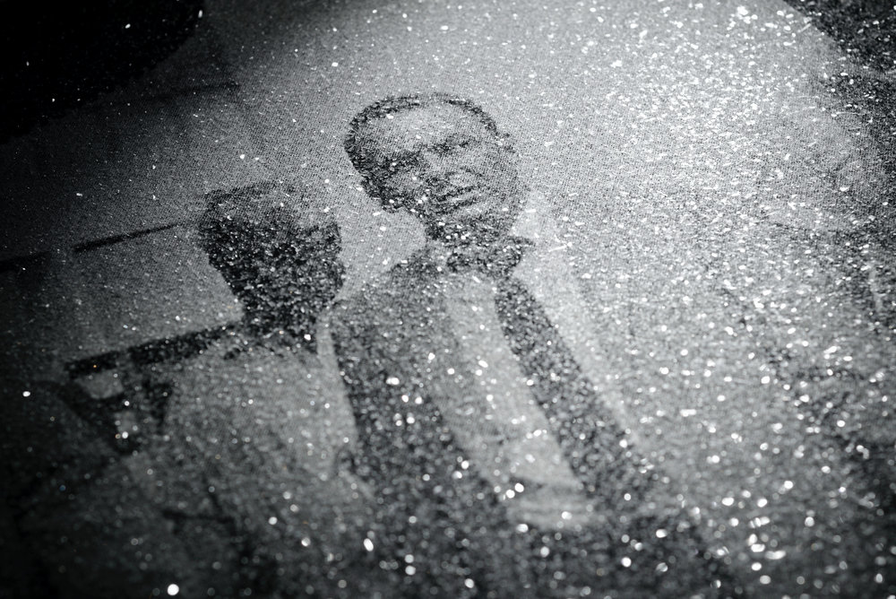 "Close-up of ""FRANK SINATRA - BROADWALK"" silkscreen on canvas with diamond dust."