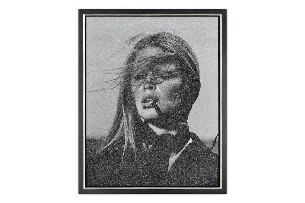 """BARDOT WITH CIGAR"" silkscreen on canvas with diamond dust."