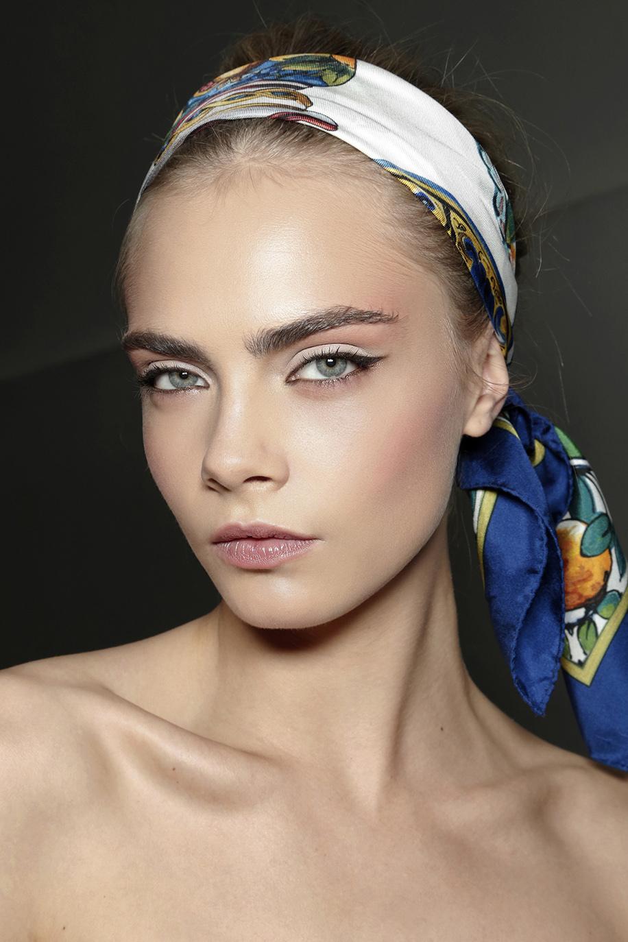 cara delevigne silk wrap hair