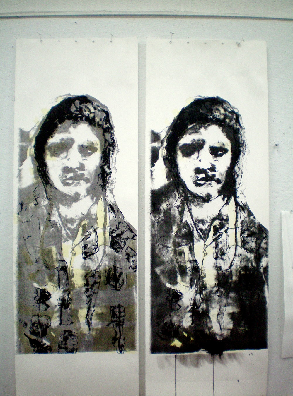 "Laimah Osman (MFA Candidate)   Assignment: One-color Lithography with Tousche & Crayon  ""Portrait Play,"" 2009  Photolithograph with Tea Wash & Mixed Media, 15"" x 35"""