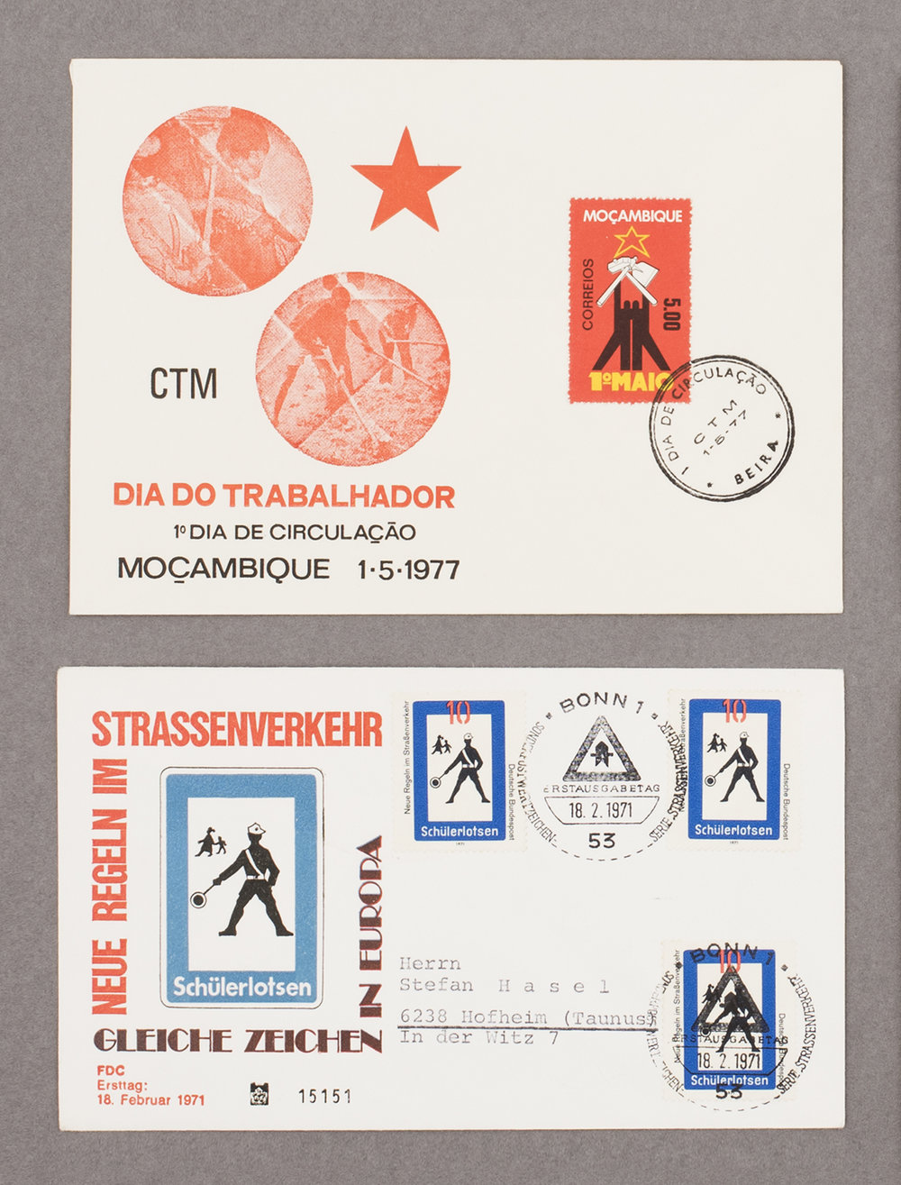 First day covers from Mozambique and Germany, 1971 & 1977, from Feira de Ladra, Lisbon