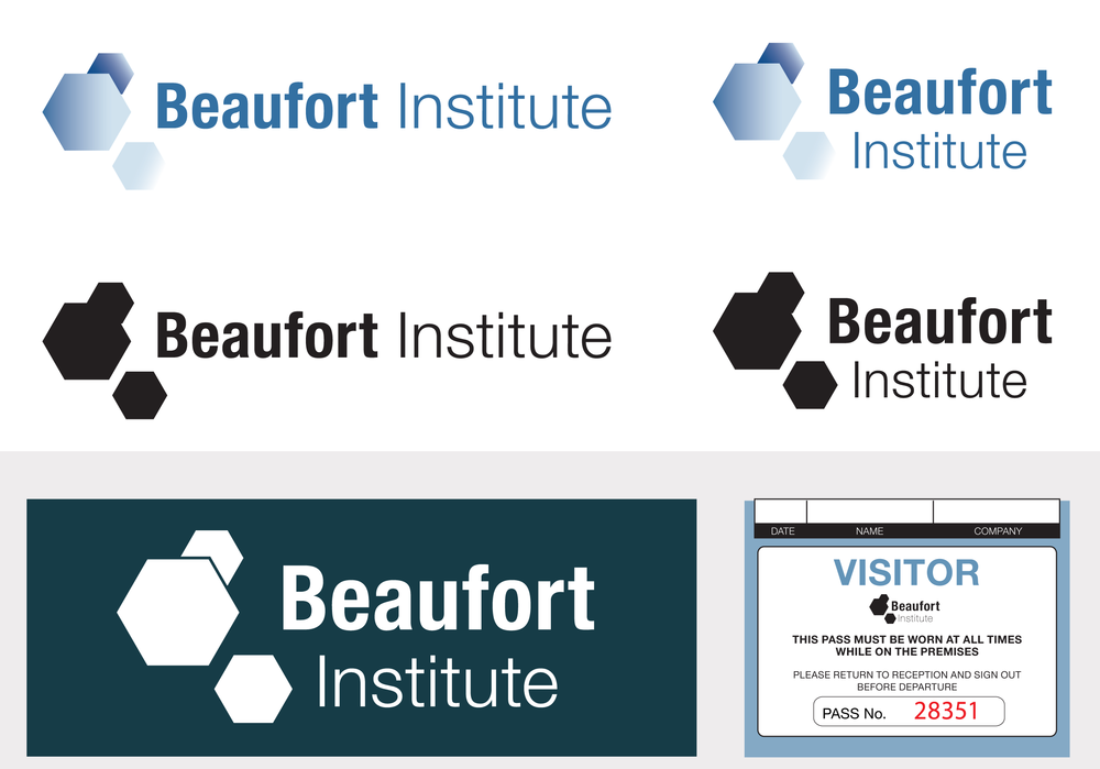 Beaufort Institute branding, sign and pass.
