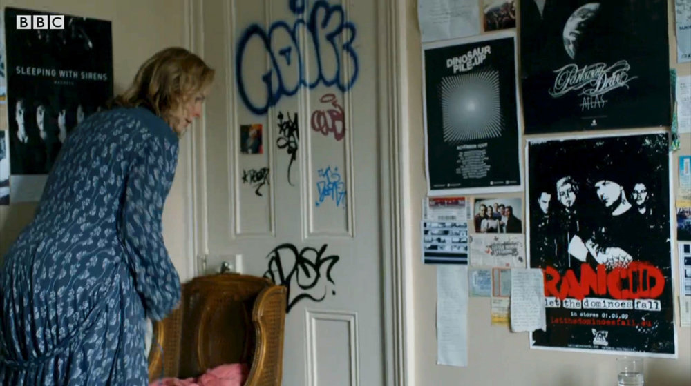 Adam's bedroom - 'ski holiday' composite photos, graffiti/tagging, posters and dressing.