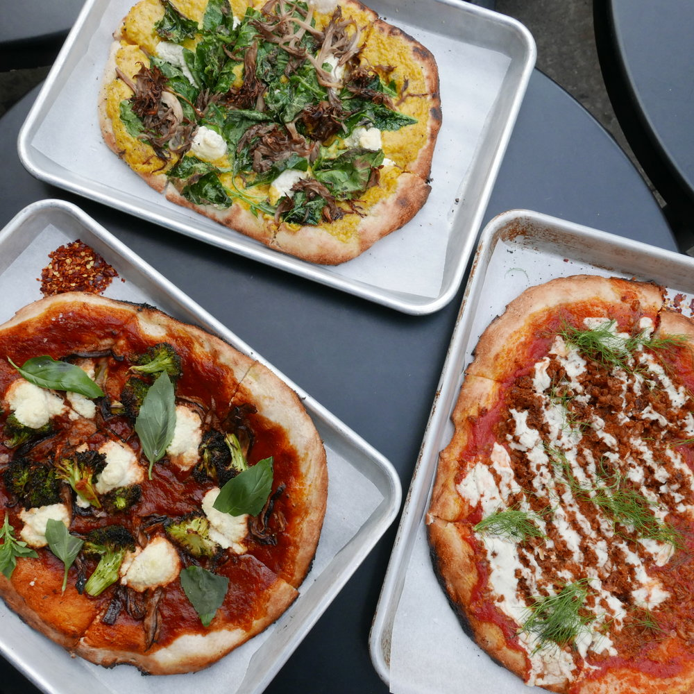 Farro-Fennel Sausage Pizza, Tomato Basil Pizza, White Pizza