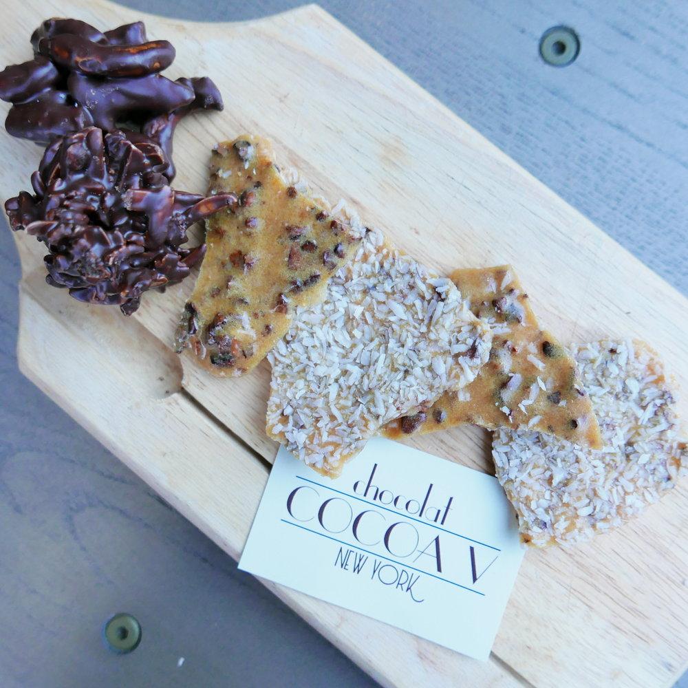 Pretzel Cluster, Chocolate Cranberry Bark, Chocolate Chip Brittle