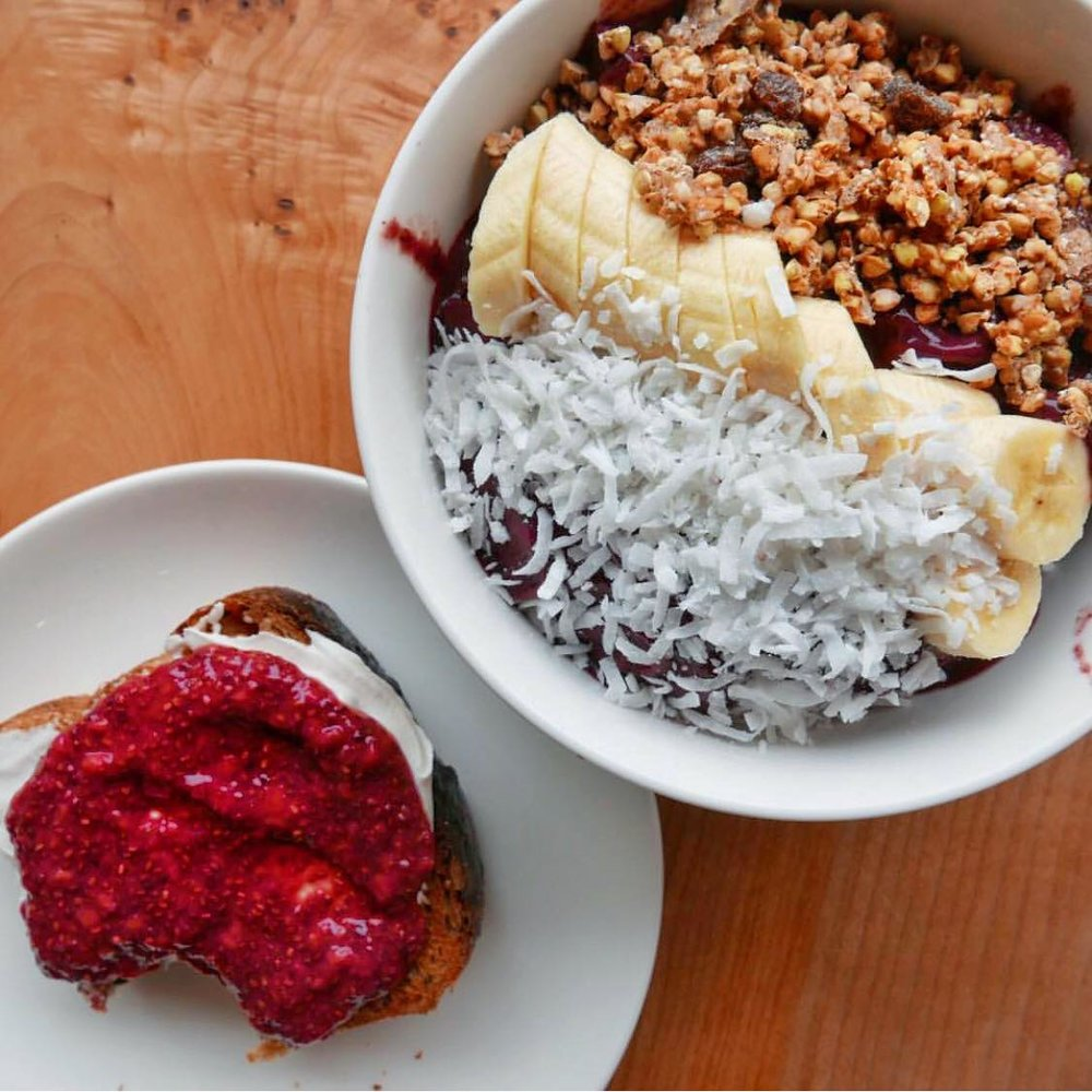 Chia Seed jam with Kite hill Cream cheese and an acai bowl