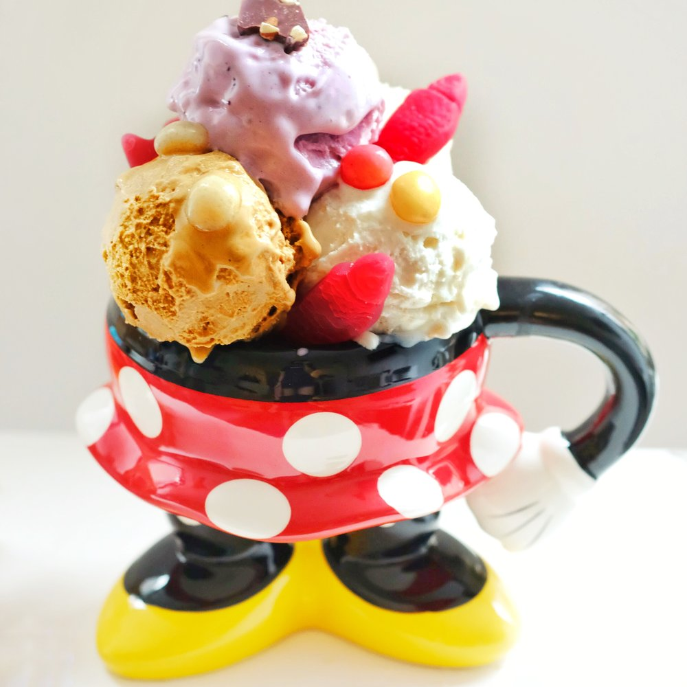 All the ice cream hanging out in my Minnie cup!