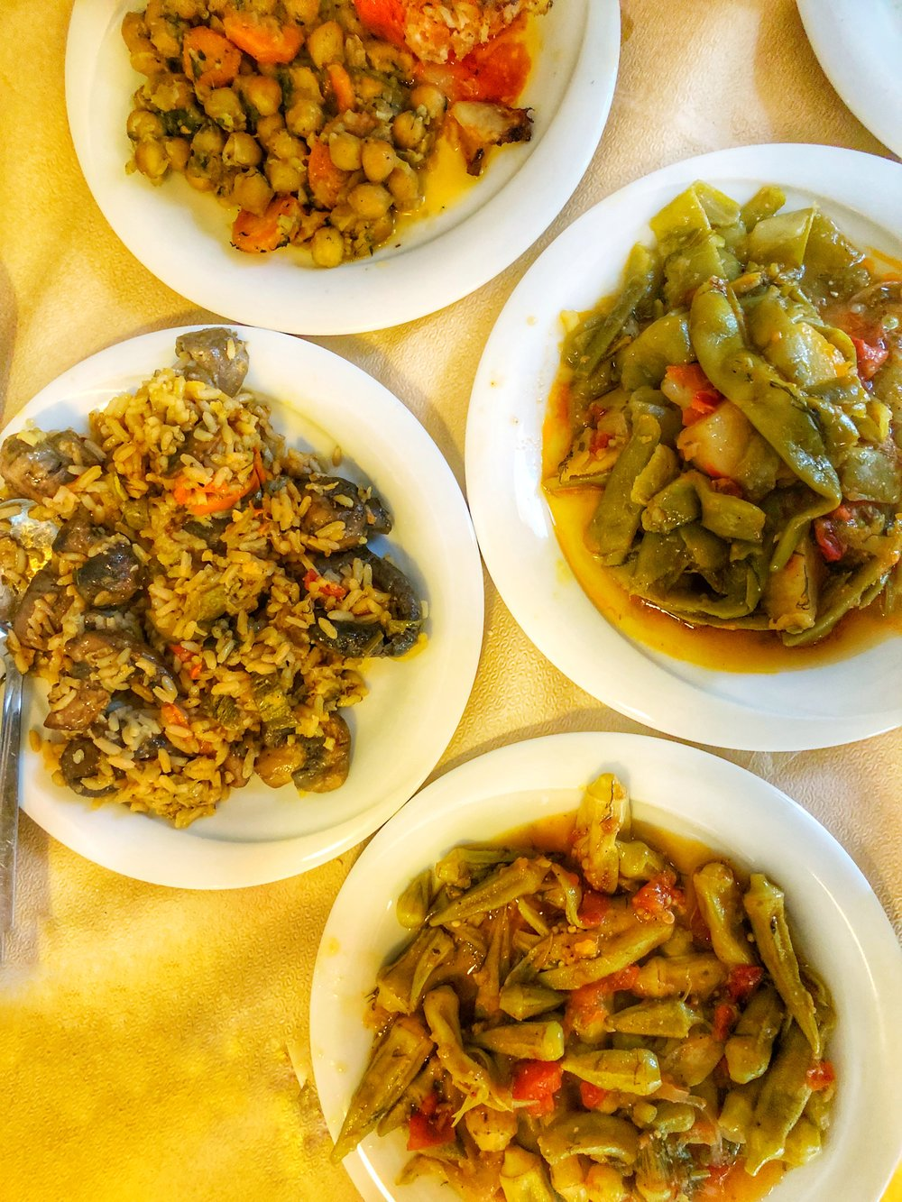 Chickpeas, mushroom rice, green beans, okra @ 5Phi (Διοχάρους 31 161 21 Kaisarianí, Attica)