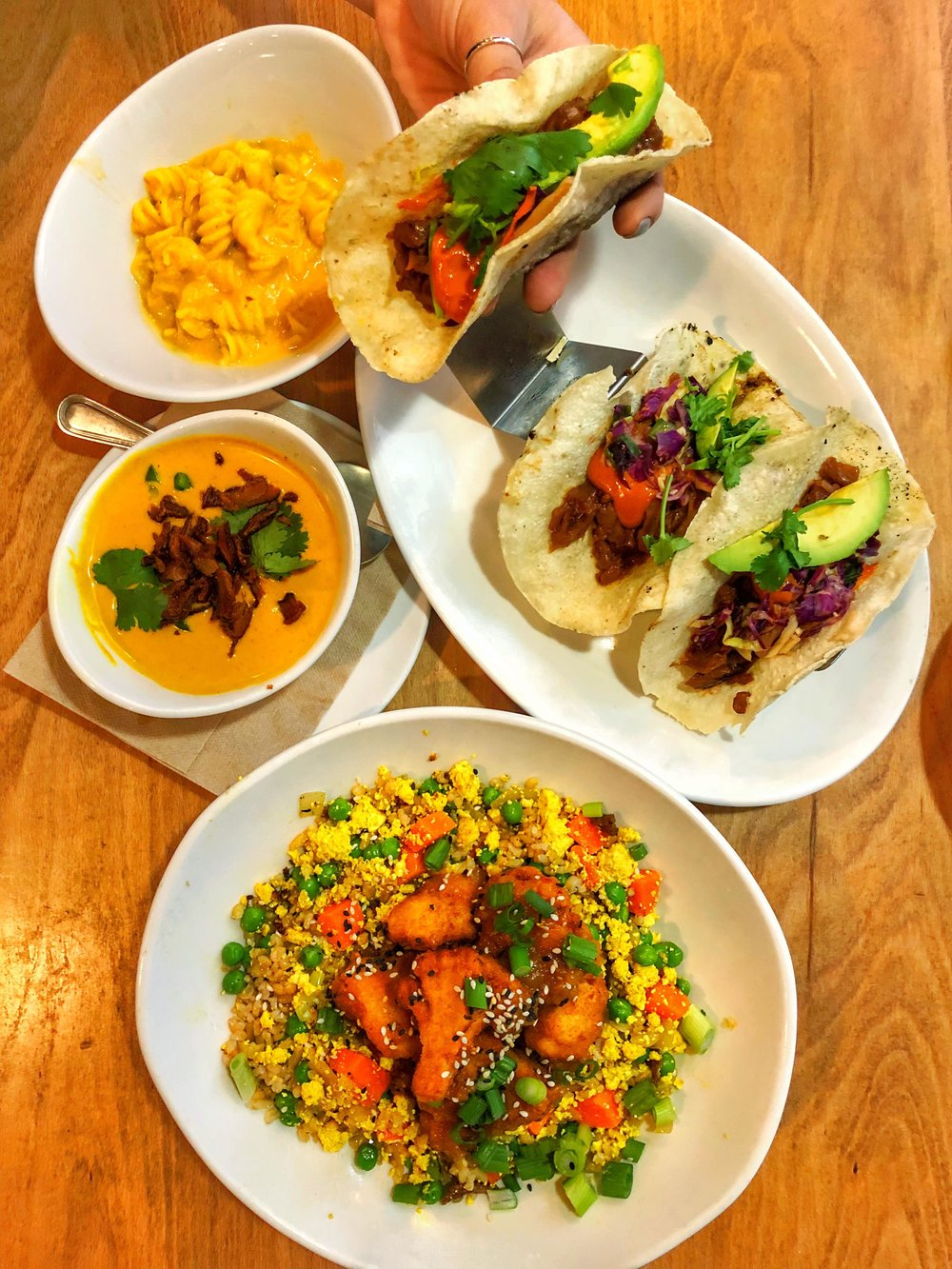 Orange chicken cauliflower, Thai Red Curry Soup, Jackfruit Taco, Mac and Cheese