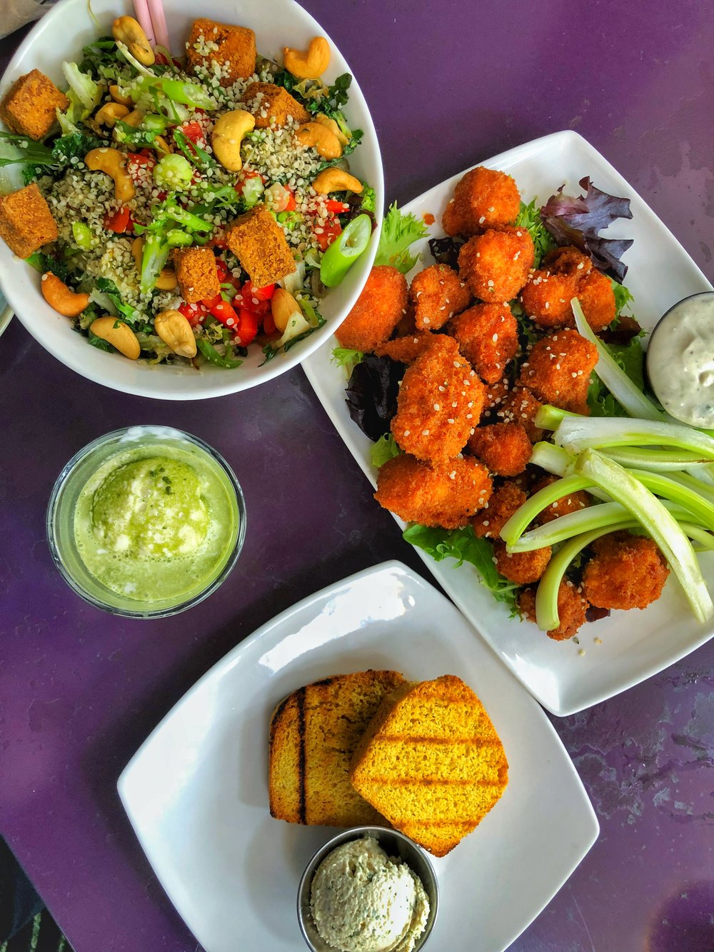 Thai Salad Bowl, Matcha affagato, buffalo cauliflower, corn bread