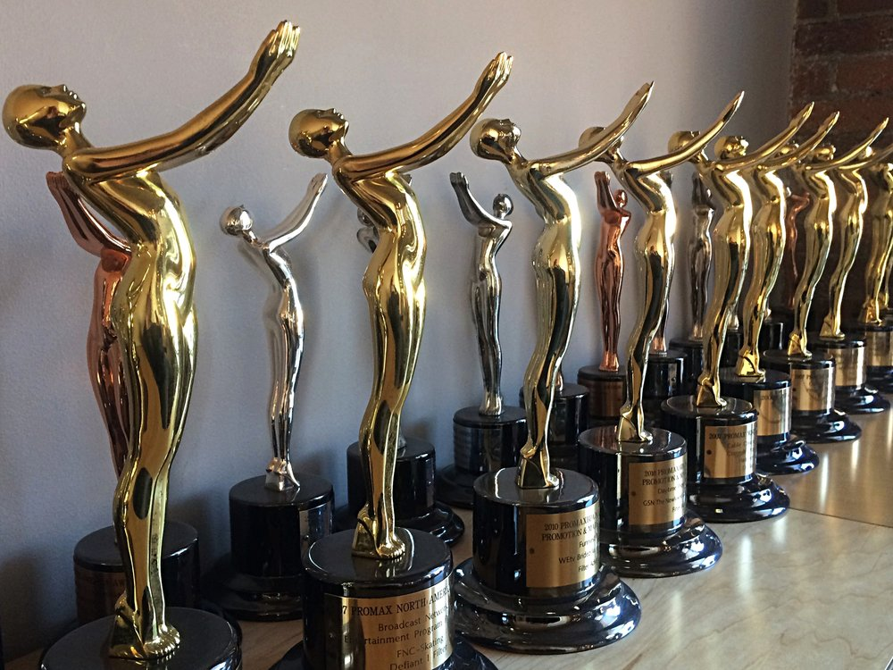 29 Promax Awards and counting. We've also won at Cannes, The One Show, One Show Interactive, D&AD, CA, Andy's, Effie's, Addy's, AICP, Radio Mercury Awards, NY Festivals, London International Festivals and more. Hooray shiny things!
