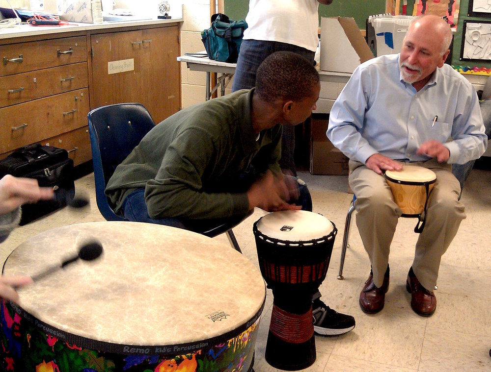 Drumming & Disabilities trainee and research partner Dr. John Biever MD and friends drumming together at Quittie Glen in Annville, PA