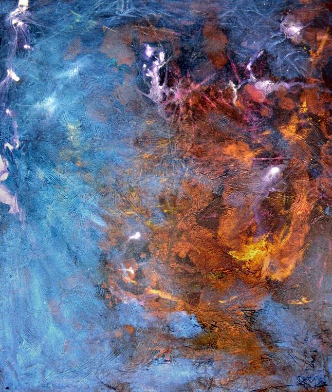 "Coalesce, 24"" X 27.5"", acrylic on canvas, 2016, zahra riaz"