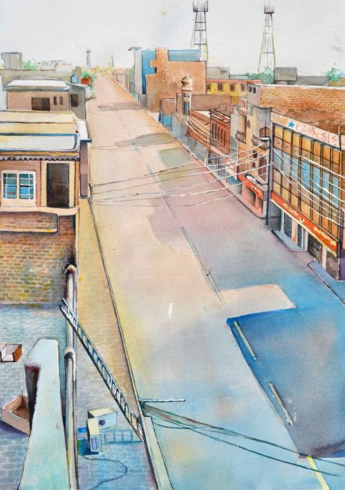 "Multan Cantt, 2013  18"" X 24""  Watercolour on paper"