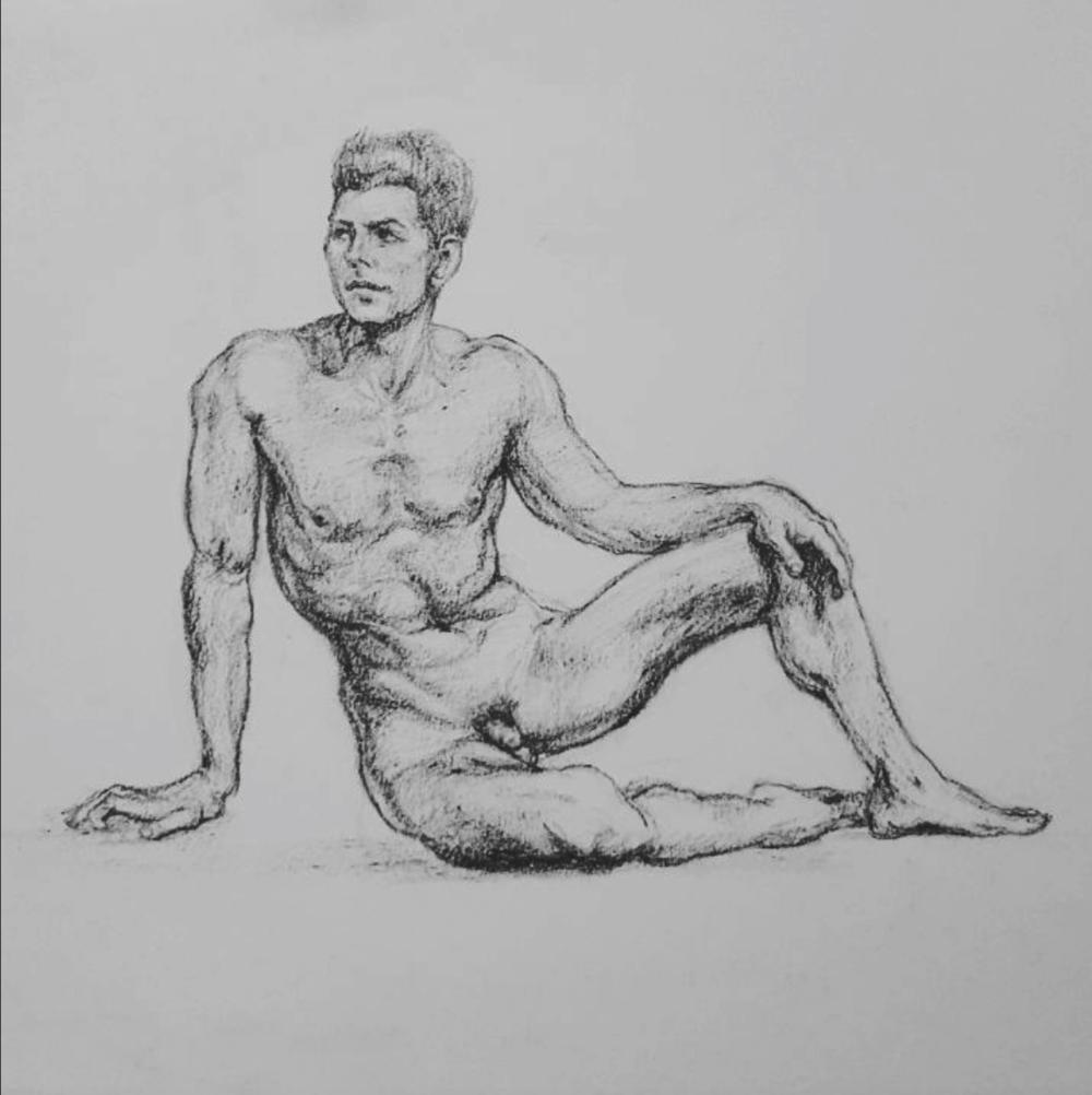 Sketched in 2015.  ~  A wrestler,  image sourced online.