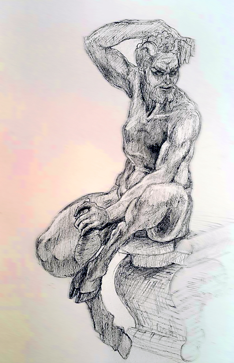Sketched in 2015.  ~  A satyr from Fountain of Neptune,  on a cloudy day, in Piazza Della Signoria,   Florence, Italy.