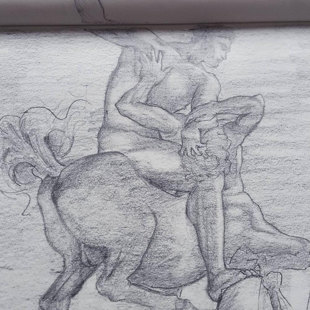 Sketched in 2016.  ~  Hercules beating the Centaur,  by Giambologna, in Loggia Dei Lanzi,  Piazza Della Signoria,Florence, Italy.