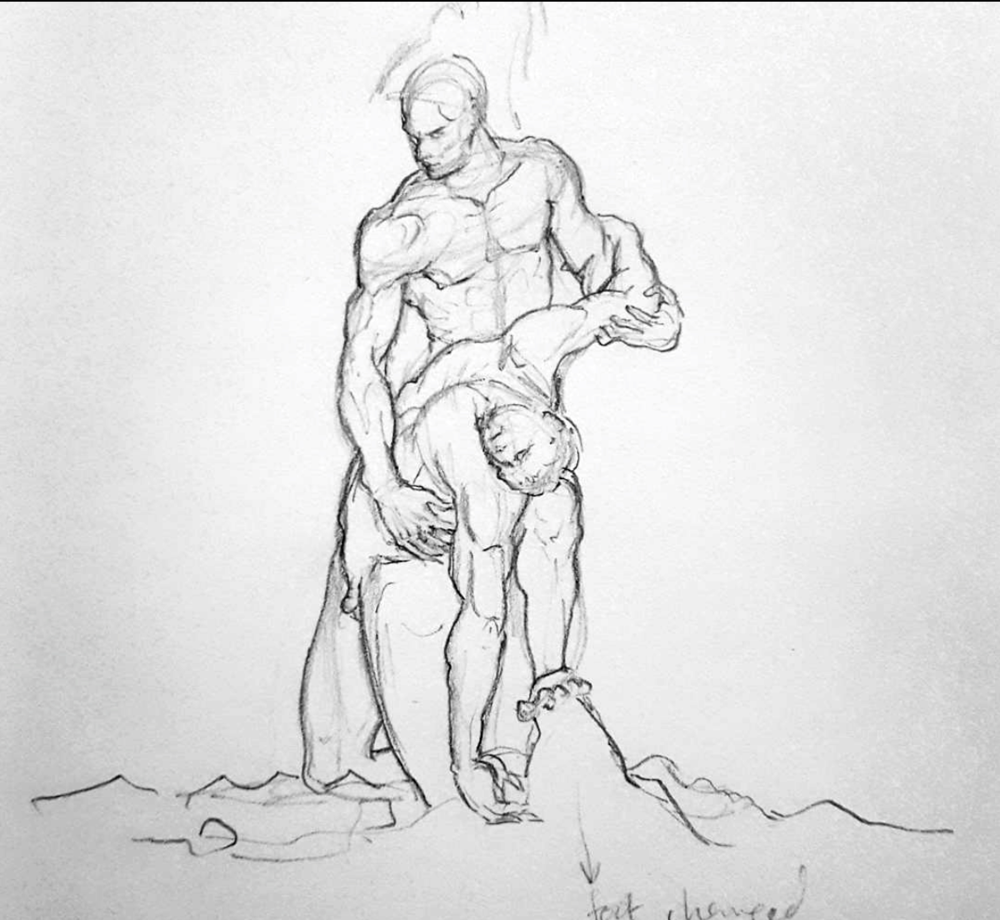 Sketched in 2016 - (clothing omitted in the sketch)   ~  Menelaus supporting the body of Patroclus,  in Loggia Dei Lanzi,Piazza Della Signoria,  Florence, Italy.