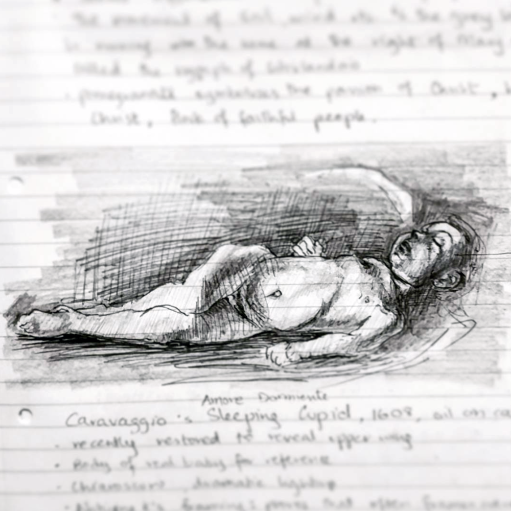 Sketched in 2015.  ~  Sleeping Cupid,  by Caravaggio, oil painting,  in Palazzo Pitti,Florence, Italy.